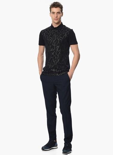 Que Desenli Polo Yaka Tişört Siyah